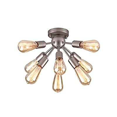 mirrea Mid-century Semi-flush Mount Sputnik Ceiling Light with 8 Lights for Foyer Entry Way Hallway Kitchen Dining Room Small Bedroom Living Room Brushed Nickel Metal Fixture Dimmable with Edison Bulb