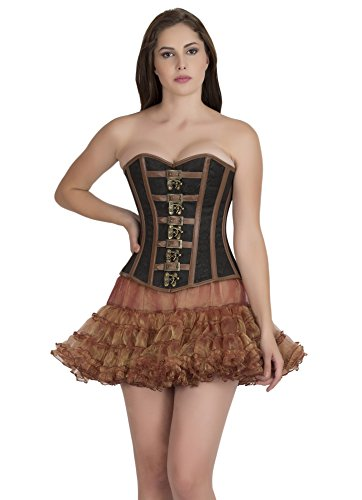 Black Brocade Brown Leather Gothic Steampunk Waist Training Overbust Corset Top