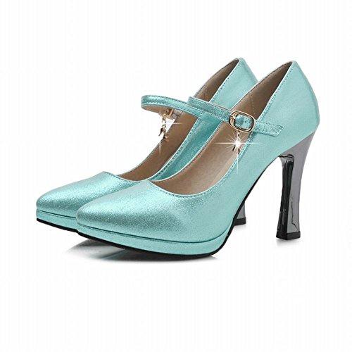 Mee Shoes Damen High Heels Schnalle Plateau Pumps Blau