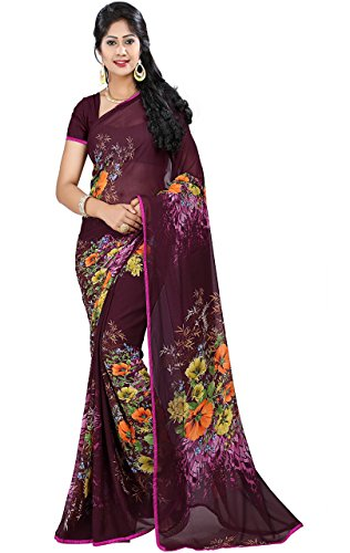 Print Saree - Women's Faux Georgette Floral Print Saree Wine 6.30 m With Blouse Piece by Kalaa Varsha