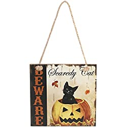 Tinksky Halloween BEWARE Cat Rectangle Hanging Wall Sign Decoration Halloween Decorations