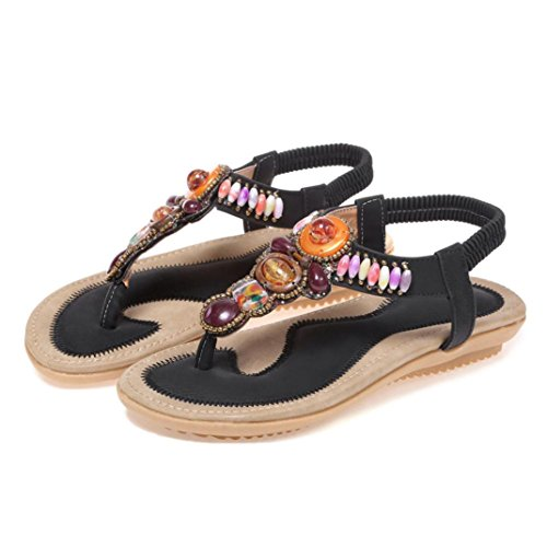 Colorful Summer Bohemia Sandals, (TM) Women Teenager Girls PU Leather Flat Peep-Toe Shoes Casual Ethnic Sandals Black