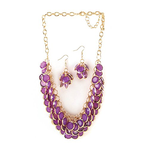 Breezy Couture Radiant Orchid Fish Scale Necklace And Jew...