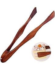 Ziyero Uitstekende houten tang natuurlijke houten voedselclip houten keukentang bamboe theeclip duurzaam, milieuvriendelijk, geschikt voor keuken, camping, grill, buffet, restaurant enz. (bruin)