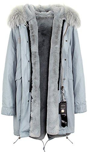 - S.ROMZA Women Hooded Parka Faux Fur Winter Warm Long Jacket Coat Detachable
