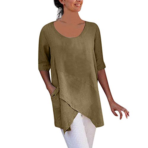 Women Cross Design Half Sleeve Cotton and Linen Blouse Tops T Shirt with Pocket - Cotton Scarf Linen Prints