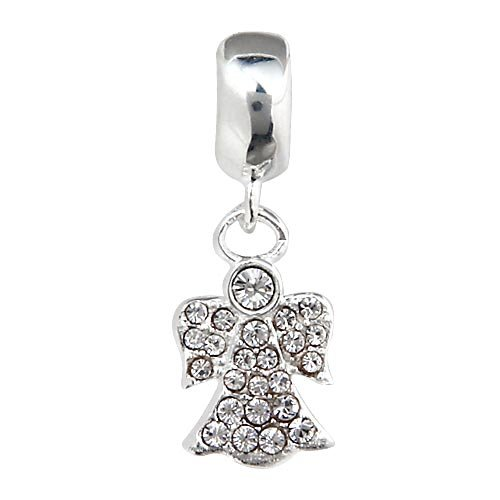 Everbling Christmas Angel with Clear Austrian Crystal Dangle 925 Sterling Silver Bead (Austrian Crystal Dangle Bracelet)