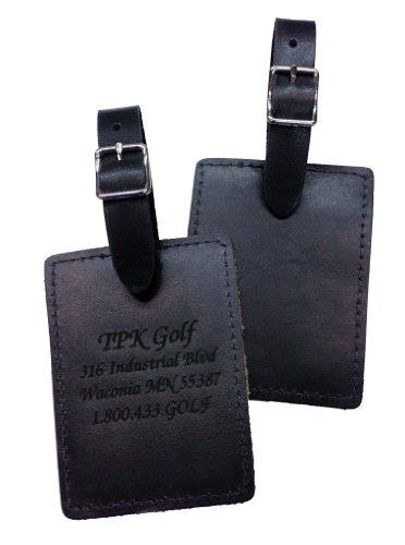 Rectangle Full Grain Leather Golf Bag Tag (Black) (Golf Leather Luggage Tag)