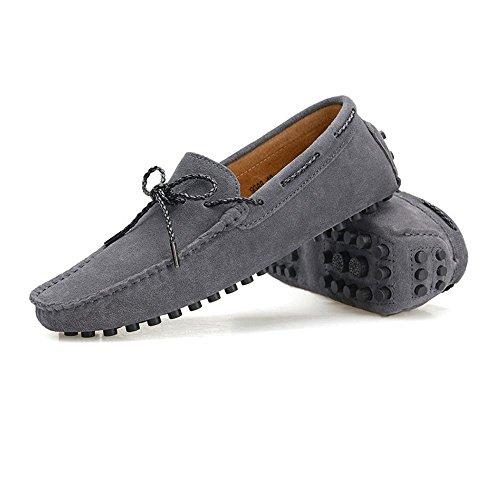 Conducción Studs para Loafers Caucho Color Sole Barco Mocasines Genuino Vino Shufang Mocasines Hombre de tamaño Penny Ligero shoes los EU 42 Gris Cuero Hombres Minimalism Zapatos 2018 Suede nPWWtRYcqw