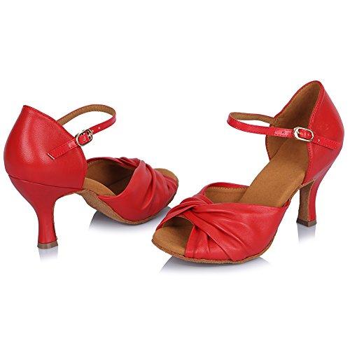 Baile Salsa Latinos Danza ESAF810 Baile de Modelo Performance de Calzado Mujeres Zapatos YKXLM de de Zapatillas Salón Rojo amp;Niña R8qxB