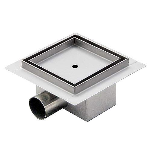 Noosa 12x12cm Stainless Steel Shower Drain Channel with Odour Stop and Hair Strainer Tileable Floor Drain Multi Pattern Selection