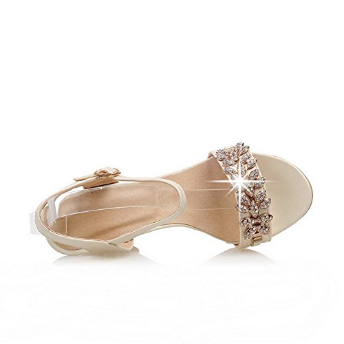 1TO9 Ladies Carved Flower Wedges Beige Blend Materials Sandals - 5.5 B(M) US DF9v0