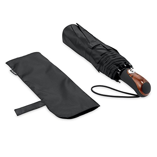 Plemo Automatic Umbrella, Safety Telescopic Rod Windproof & Water-Resistant, Black