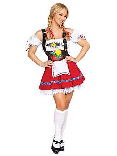 Roma Costume 3 Piece Fraulein Sweetheart Costume, White/Red, Medium/Large