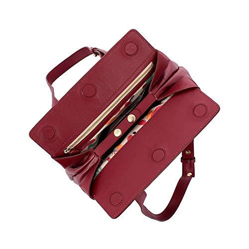 mujer Rojo hombro 1772 para de Cuero rojo compact DuDu 615 Bolso al 11 xOWXqzR