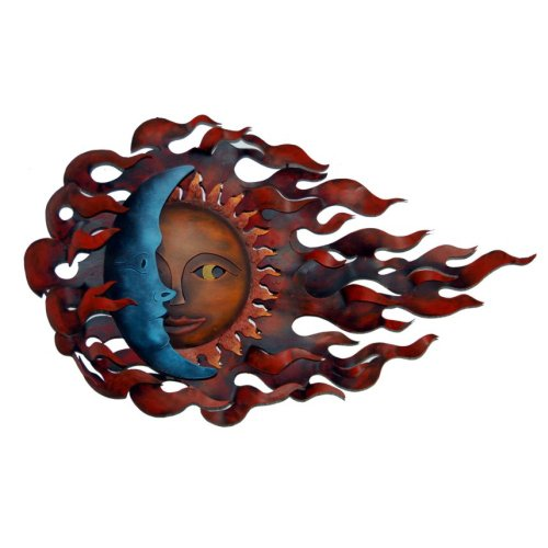 isan Crafted & Painted Steel   Sun-Moon Wall Decor   Metal Wall Art   Wind Eclipse ()