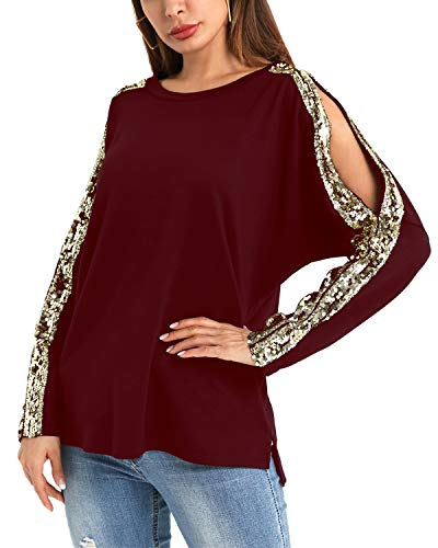YOINS Cold Shoulder Gloss Sequins Cutout Shirt for Women Long Sleeved Top Pullover Wine Red-Round Neck XL