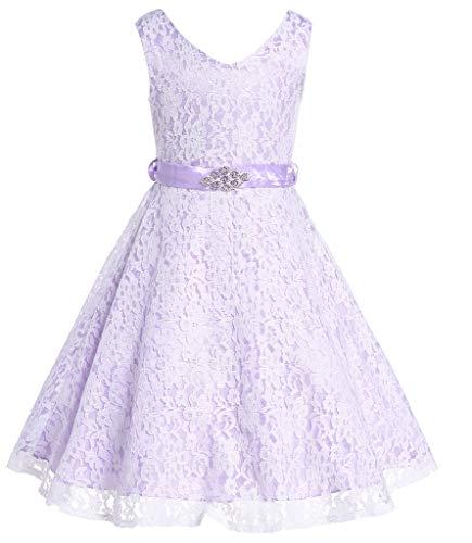 Bow Dream Lovely Lace V-Neck Flower Girl Dress Flower Lavender 6 -