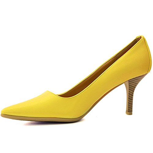 Dailyshoes Femmes Classique Mode Bout Pointu Talons Hauts Avec Caoutchouc Spécial Anti-dérapant Semelle Robe Chaussures Chaussures Jaune