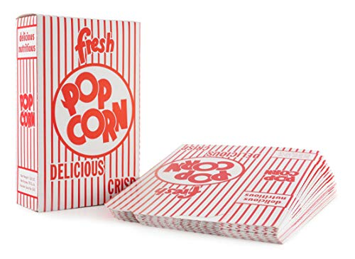 Large Popcorn Boxes (Snappy Popcorn 3-E Red and White Close Top Popcorn Boxes, 1.25 Oz, 100)