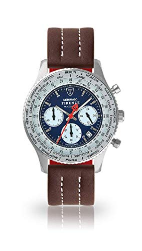 DETOMASO Firenze Racing Mens Watch Chronograph Analog Quartz Brown Leather Strap Blue dial DT1069-A-883