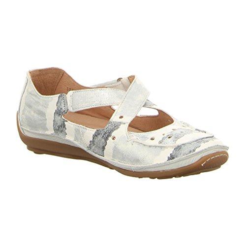Softwaves Mujeres Zapatos llanos blanco, (weiß-kombi) 4.69.04 ALASKA-WHITE weiß-kombi