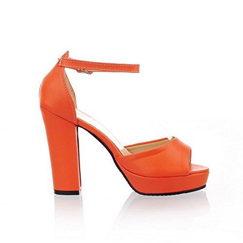 Hohem Rein Absatz mit PU Schuhe Leder Schnalle VogueZone009 Sandalen Orange Fischkopf Damen ZzqB7