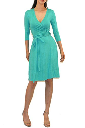 Mint Tie Waist Dress - Vivicastle Women's Printed V-Neck 3/4 Sleeve Faux Wrap Waist Tie Midi Dress (DD64, Mint, Small)