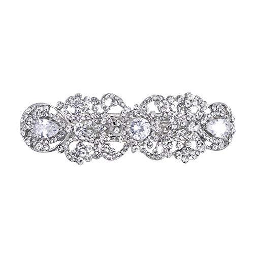 EVER FAITH Silver-Tone Austrian Crystal CZ Art Deco Flower Tear Drop Hair Barrette Clip Clear