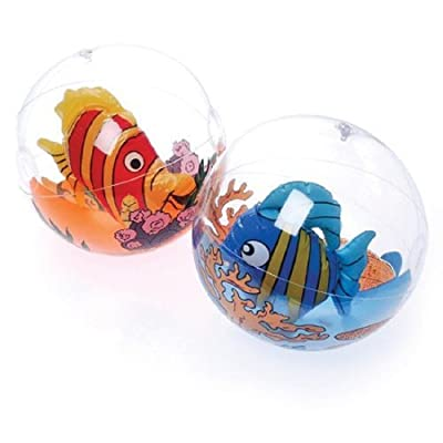 12-Pack Assorted Inflatable Tropical Fish In Balls Pool Toys