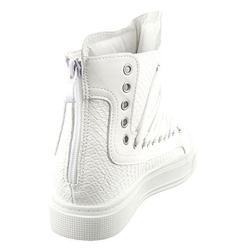 Sopily - Scarpe da Moda Sneaker Zeppa donna zip pelle di serpente Tacco zeppa 4 CM - Bianco