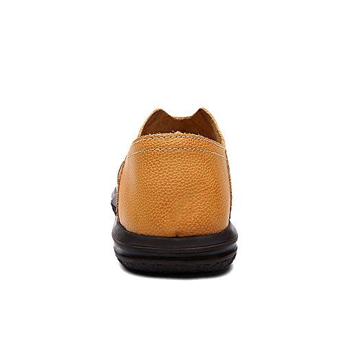 Shoes Yellow Slip Closed Beach Sandals Sandals Toe on EnllerviiD Brown Outdoor 017 Leather Men Fisherman pUOxqP