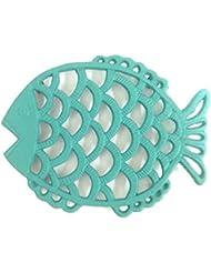 Teal Blue Fish Kitchen Trivet Painted Cast Iron