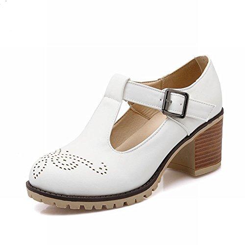 Carolbar Women's Charm Fashion Hollow Pattern Mid Heel Buckle Court Shoes White