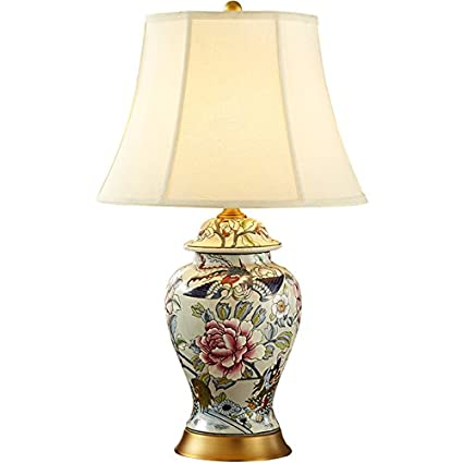 ANDEa Lámpara de mesa de cerámica, artesanía esmaltada hecha ...