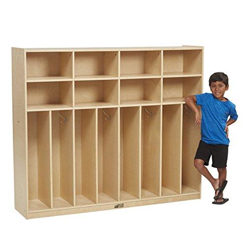 ECR4Kids Birch 8-Section Slim-Fit School Coat Locker with Hooks and Storage for Kids, 60 Wide