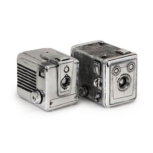 IMAX 36130-2 Vintage Camera Boxes, Silver - Set of 2