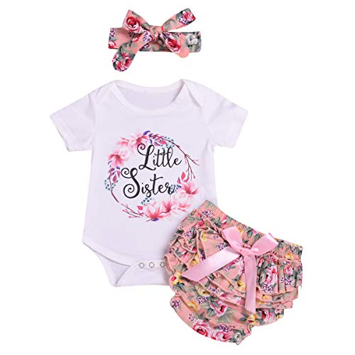 Cute and Soft Onesies New Baby Gifts Little Sister/Big Sister Skirt Newborn Dress Outfits Set 3pcs(Little sister2, 0-6 Months)
