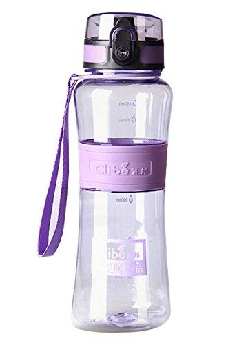 Elegari BPA Free Leak-Proof Large Capacity 16 OZ Purple Nozzle Sport Bicycle Plastic Water Bottle Cover Lip Filter