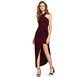 MakeMeChic Women's Sleeveless Split Ruched Halter Party Cocktail Long Dress