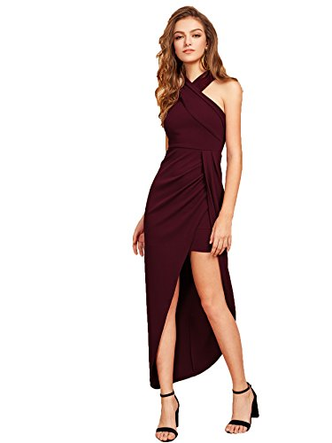 (MAKEMECHIC Women's Sleeveless Split Ruched Halter Party Cocktail Long Dress Burgundy S)