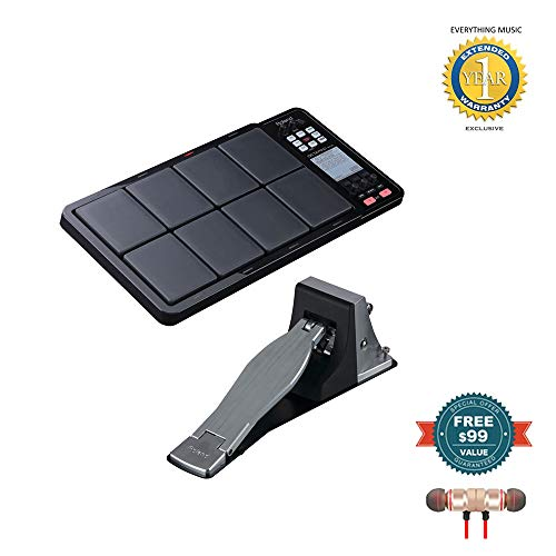 Roland OCTAPAD SPD-30 Digital Percussion Pad Black and KT-10 Kick Trigger Pedal Bundle includes Free Wireless Earbuds - Stereo Bluetooth In-ear and 1 Year Everything Music Extended Warranty