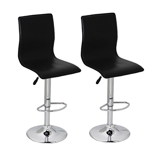 Black Pvc Swivel Seat Stools (SKB Family Black PVC Bar Stool with High Backrest Set of 2 Modern Pair Seat)