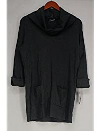 INC Womens Plus Ribbed Knit Cowl Neck Tunic Sweater Gray 1X