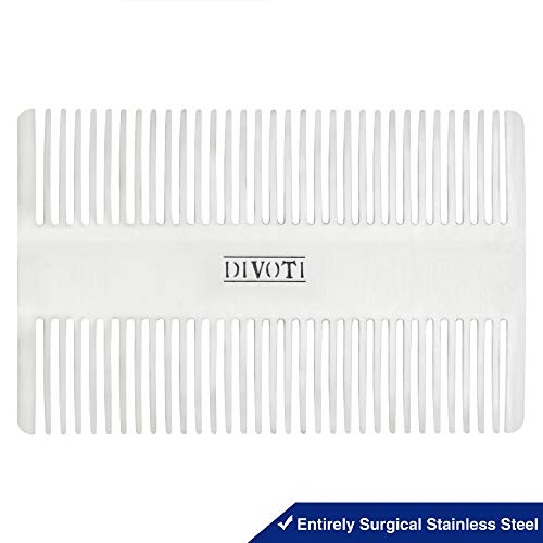 Divoti Surgical Stainless Steel Credit Card Size Wallet Comb Perfect for Wallet & Pocket – Compact & Durable Hair & Beard Comb – EDC Comb – Dual Actions