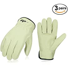 Vgo Unlined Men's Pigskin Leather Work Gloves, Drivers Gloves(3Pairs,Size XL,Light Cyan,PA9501)