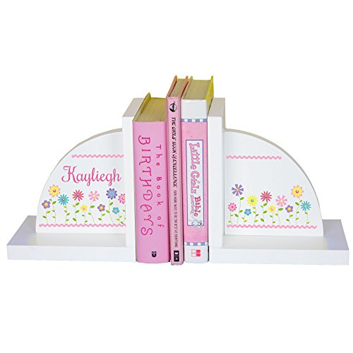 MyBambino Girl's Personalized Stemmed Flower Bookends