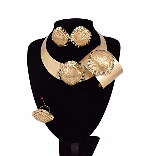MOOCHI 18K Gold Plated Big Size Africa Style Pendant Costume Wide Necklace Alloy Jewelry Set