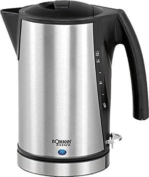 Bomann WKS 1356 CB Hervidor de agua eléctrico, 2200 W, 1.7 litros, Acero Inoxidable, Negro/gris