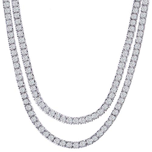 (Pyramid Jewelers Mens Iced Out Hip Hop Silver Tone CZ Miami Cuban Link Chain Choker Necklace (1 Row CZ Chain Set 20